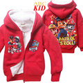 Winter Fleece Coat Boys Kids Cartoon Puppy Patrol Jackets Terry Outfits Children Warm Coats Red Hooded Coat Tops KD256
