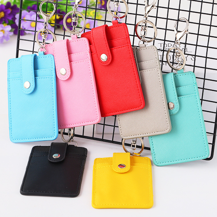 2018 Candy Color PU Leather ID Card Holder Bank Card Wallet Business Credit Card Holder Key Ring Keychain Bus Card Holder HB240
