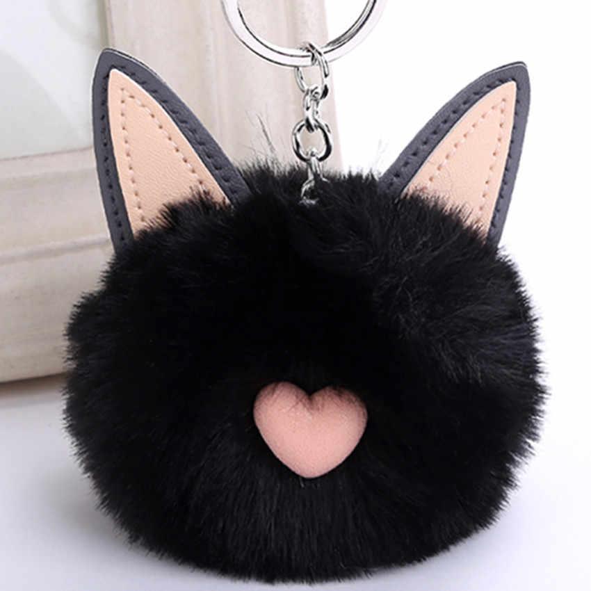 Nova Chave da cadeia de mulheres da orelha de coelho Faux Fur Pom Pom Bolsa feminina Charme Encantador Presente da jóia do anel chave do carro chaveiro K1628