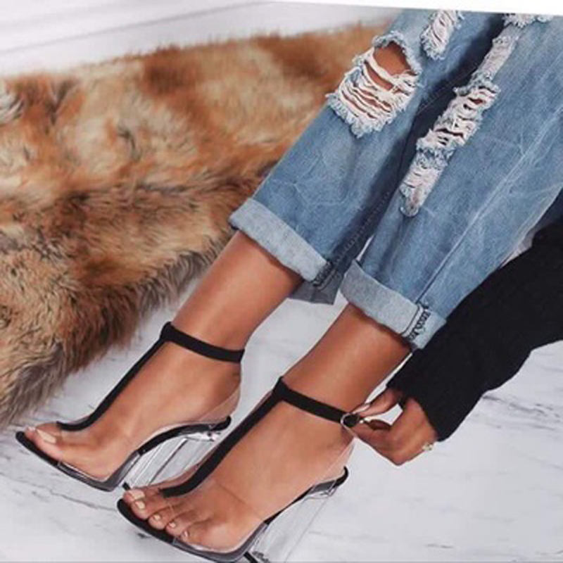 Women Sandals Sexy Buckle Strap High Heels Shoes Woman Clear Transparent T-strap Ladies Shoes Fashion Square Heel Party Pumps xiaying smile summer woman sandals fashion women pumps square cover heel buckle strap fashion casual concise student women shoes
