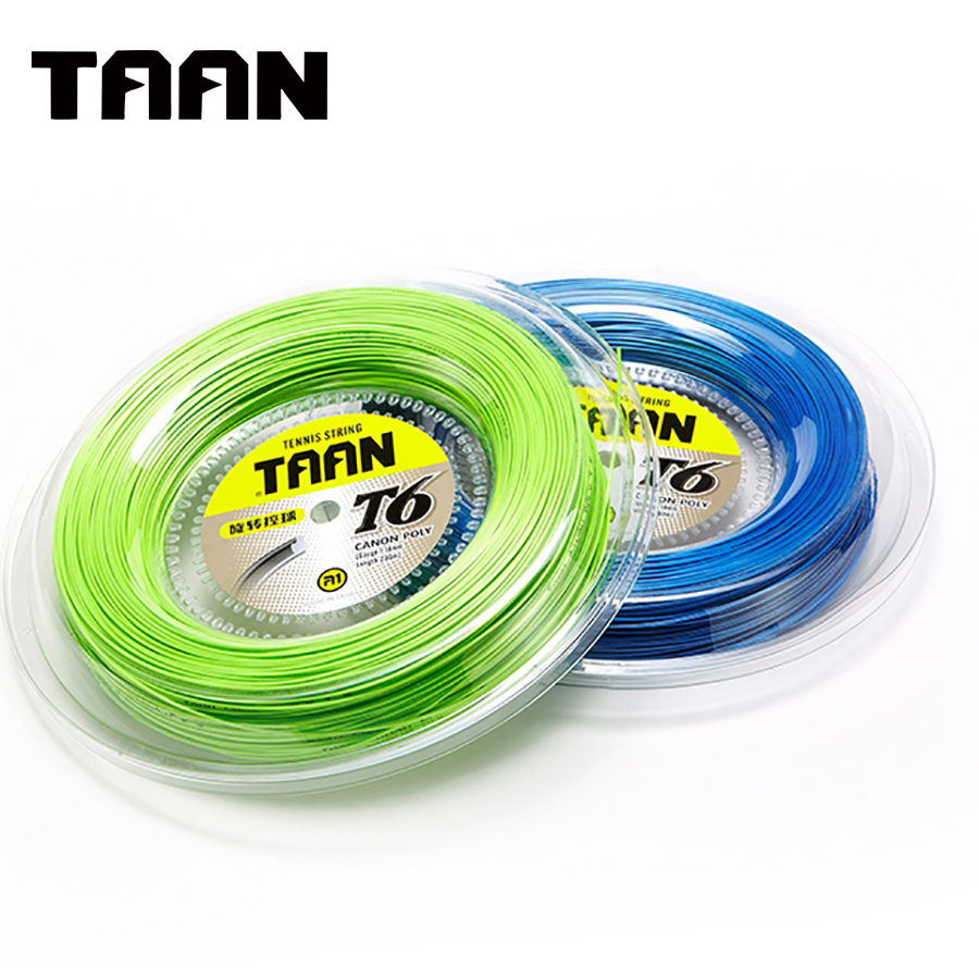 TAAN T6 Tennis Racket String 200m Reel Tennis Strings 1.18mm Blue Green Tennis Racket Accessories for Sport Tennis Trainer free shipping geo synthetic hexagonal nylon soft tennis racket string reel tsb 03