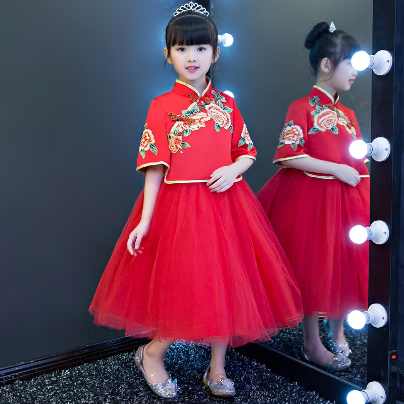 Children Girls New Chinese Style Classical Embroidery Flowers Red Color Princess Dress Kids Babies New Year Birthday Long Dress korean style different flowers and plant of 50 chinese embroidery handmade art design book