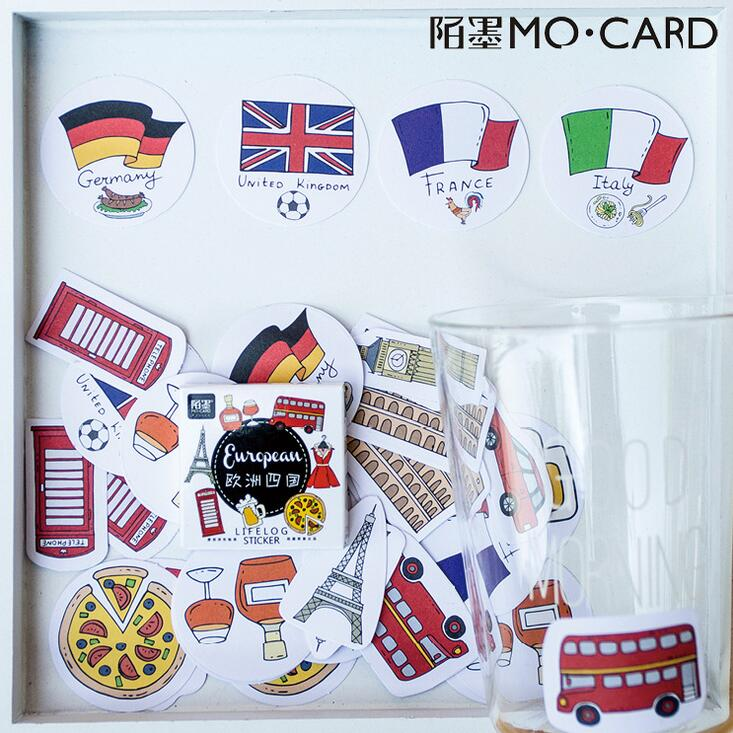 45 pcs/pack Europe Germany UK France Italy Stickers Decorative Stationery Stickers Scrapbooking DIY Diary Album Stick Label 4 pcs pack retro little prince vintage folding stamps stickers diy paper decorative stickers europe style stationery stickers