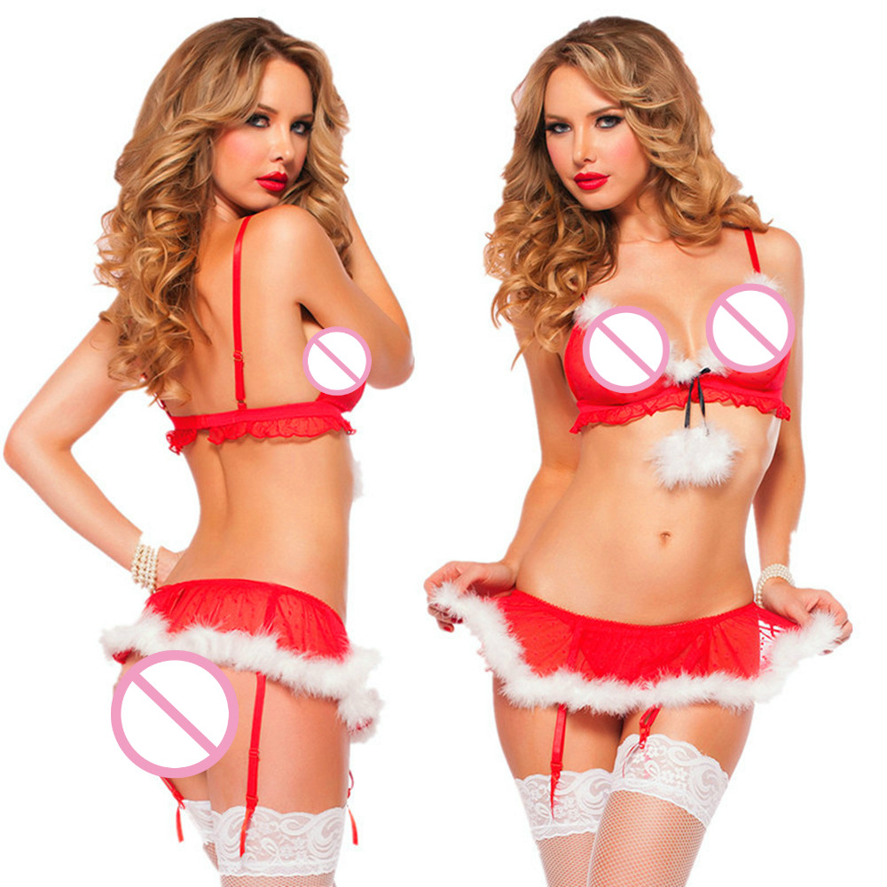 2017 New Christmas Girl Sexy Lingerie For Women Erotic Underwear Red White One Size Transpare Lingerie Sexy Hot Erotic Babydolls