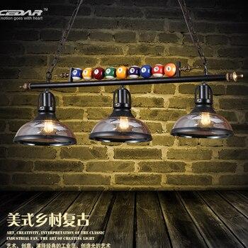 North American bilhar lâmpada personalidade criativa rural vento industrial retro três Sótão Restaurante Lustres de vidro