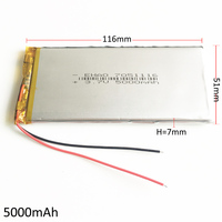 3 7V 5000mAh Polymer Lithium LiPo Rechargeable Battery 7051116 For GPS DVD PAD E Book Tablet