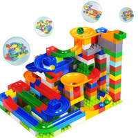 Funny DIY Race Run Track Colorful Construction Balls Rolling Track Toys Duploed Building Blocks Creative Toys