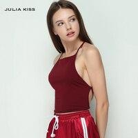 Brand Design Summer Fashion Women Elastic Cotton Tie Back Camis Tied Strap Crop Tops Backless Sport