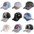 hot sale  pink fuchsia black rhinestone flower girl women snapback hats new fashion high quality hip hop denim baseball caps