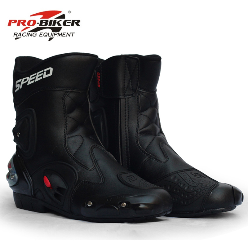 PRO BIKER SPEED BIKERS Motorcycle Boots Wear resistant Microfiber Leather Racing Motocross Motorbike Riding Mid Calf
