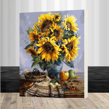 40x50cm SunFlowers Framed picture on wall acrylic oil painting by numbers abstract drawing  unique gift