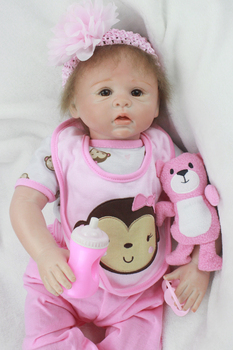 20inch Silicone Reborn Dolls Lifelike Baby Newborn pink clothes fashion creative princess bedtime birthday presents for sale toy