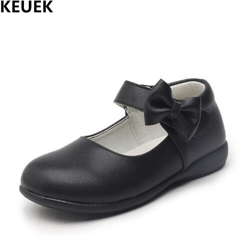 New Spring/Autumn Children Shoes Girls Leather Shoes Princess Baby Student Bowknot Black Breathable Dress Dance Kids Shoes 018