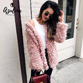 AZULINA Casual Winter Warm Wool Coat Women Turn Down Collar Female Slim Fashion Cashmere Pink Outerwear Overcoat manteau femme