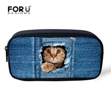 Cute Animal Women Cosmetic Case Organizer for Make up Pet Cat Dog Printed Kids School Pencil Box Pouch Travel Girls Makeup Bag