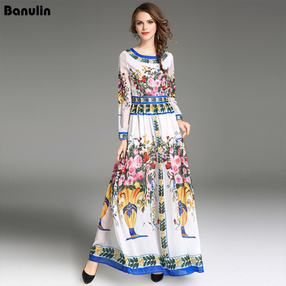 High Quality 2018 Autumn Runway Maxi Dress Women's Long Sleeve Floor Length oversize Party Floral Printed Casual Long Dress