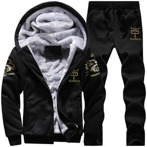 Image 2 - Men Sweatshirts Casual Thick Warm Fleece Hoodies Male Zipper Long Sleeve Solid Hooded Sweatshirt Tracksuit Moletom Masculino