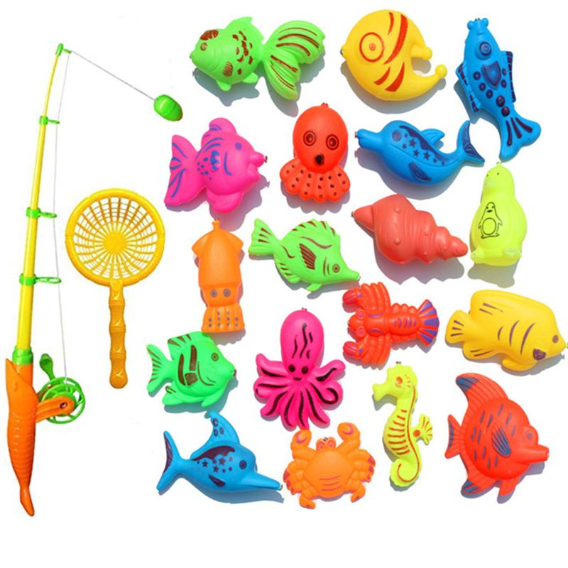 Free Shipping Creative Baby Bathing Toy 22-piece Magnetic Fishing Toy Set Bath Toys High Quality Exquisite