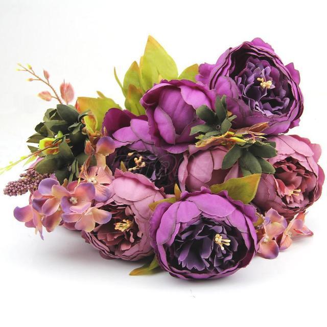 Party decoration purple peony silk flowers european bouquet party decoration purple peony silk flowers european bouquet artificial flowers vivid 10 head peony fake leaf mightylinksfo