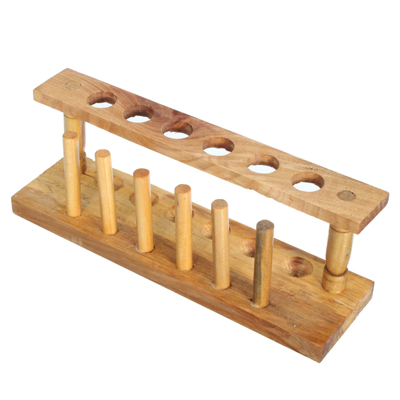 Kicute Wooden Test Tube Rack 6 Holes and 6 Pins Holder Support Burette Stand Laboratory Test tube Stand Shelf Lab School Supply