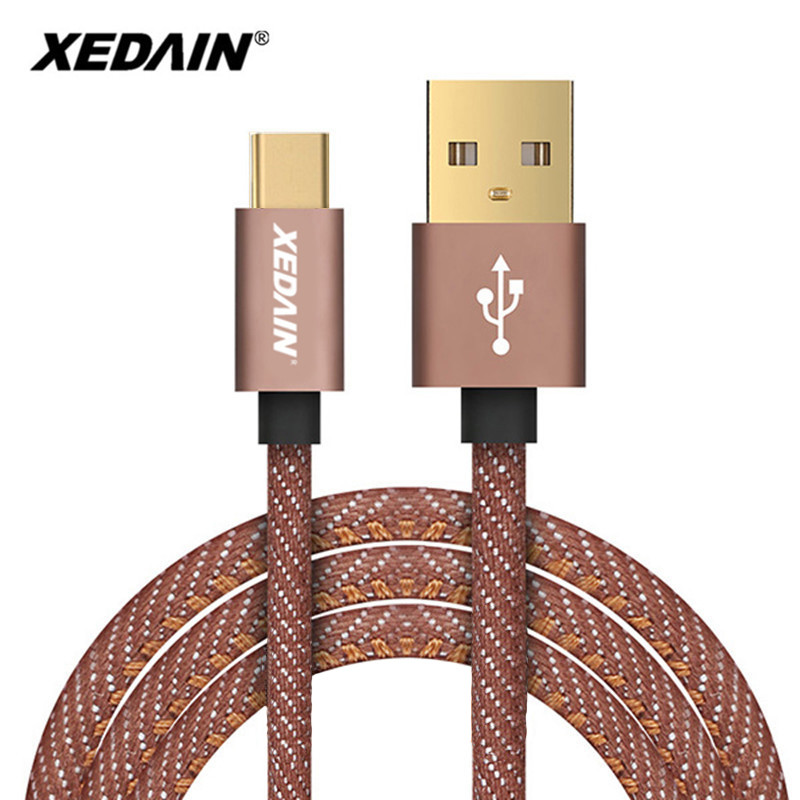 XEDAIN USB Type C 3.0 Cable Denim Braided Fast Charge&data Cable USB C Charger Cable For Xiaomi Mi 4C Mi5 4s OnePlus 2 Nexus 5X