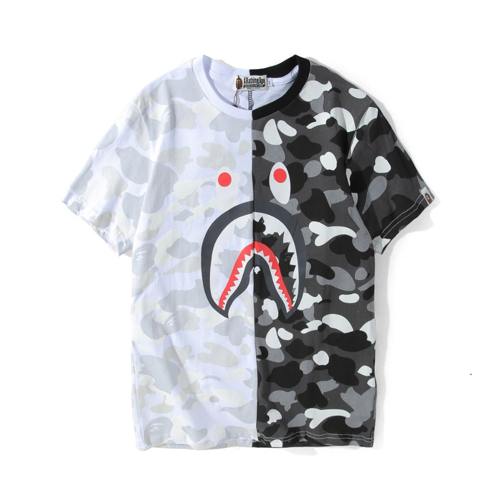 7636130f a bathing ape t-shirt short sleeve shark black and white stitching cotton bathing  ape