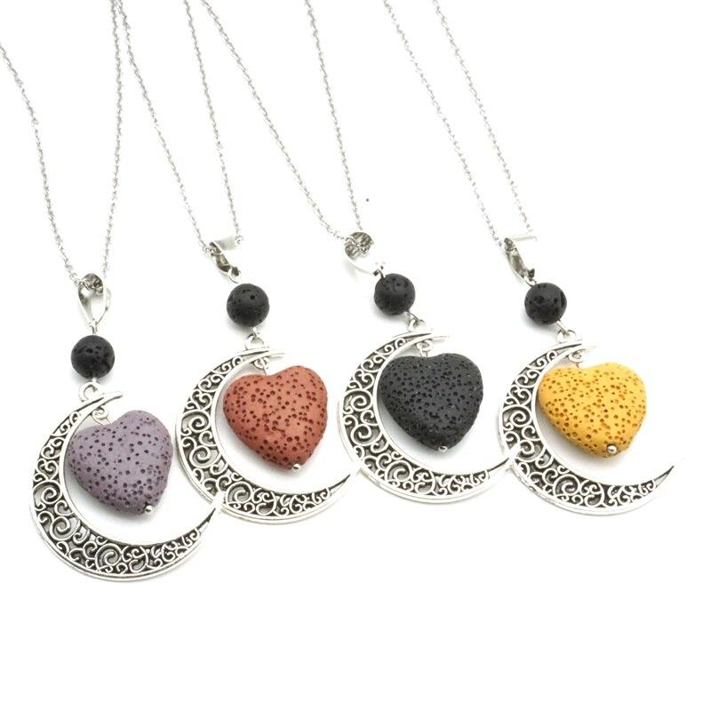 Heart Lava Stone Diffuser Necklace Black Essential Oil jewelry Aromatherapy