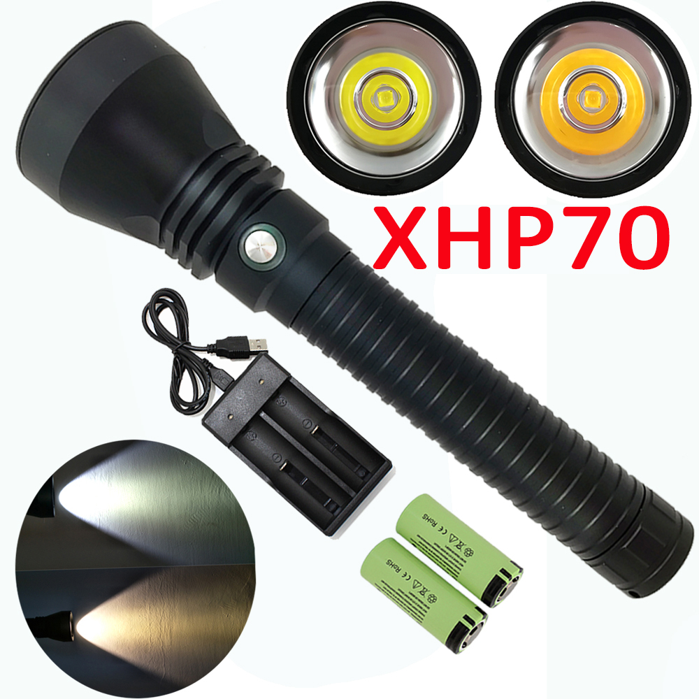 5000LM  XHP70 LED Scuba Diving Flashlight Powerful Waterproof Underwater Flash Light Dive Lamp Torch