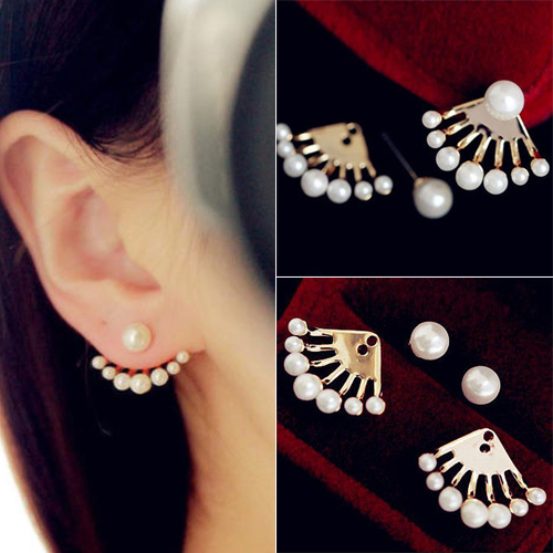 Best Quality Casual and Fashion Front & Back Earrings Pearl Sector Studs earrings for women 5U72 6SPP