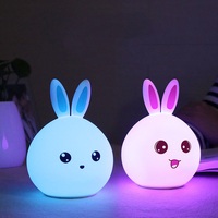 Rabbit LED Night Light USB Recharge 7 Color Changing Light For Kids Silicone Touch Sensor Tap