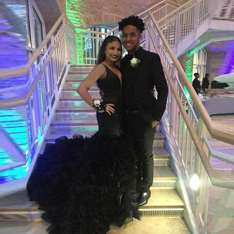 Mermaid Black Tulle Long Prom Dresses 2017 Plus Size Sexy