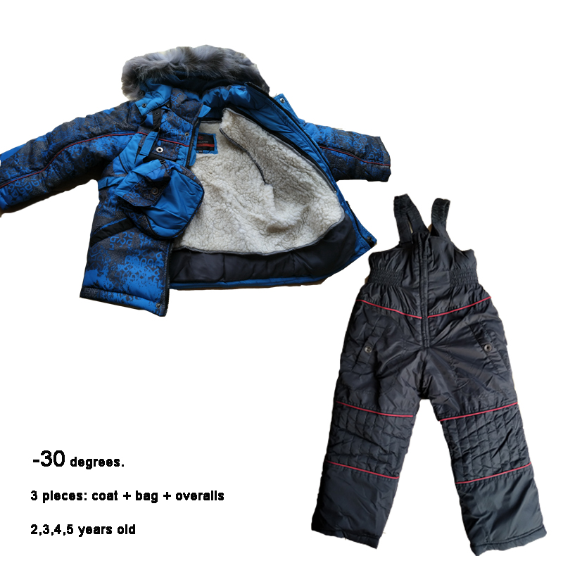 Baby Snowsuits Winter Boys Rompers <font><b>2</b></font> <font><b>3</b></font> 4 <font><b>5</b></font> years Kids Ski Suits <font><b>3</b></font> piece Warm Children Winter Snow Jackets Infant Outwear image