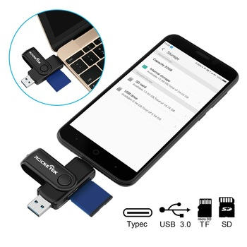 Type-C USB 3.0 OTG 2-in-1 Memory Card Reader for SD / TF / microSD Card by Rocketek