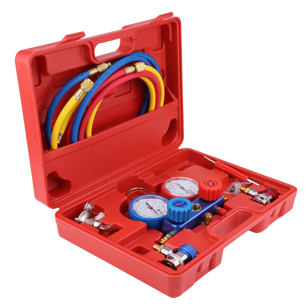 Oversea R134a Air Conditioner Conditioning Tools A C Diagnostic Manifold Gauge Set with 5ft Charging Hose