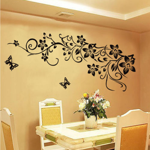 3D classic black butterfly flower wall sticker home decor poster ...