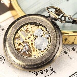 Image 4 - 새로운 뜨거운 판매 복고풍 청동 로마 숫자 기계식 주머니 시계 fob 체인 해골 손으로 감는 주머니 시계와 남성 여성을위한
