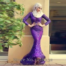 Arabic Mermaid Evening Gowns Purple Dubai Arabic Evening Dresses Long Sleeve Beaded Lace Appliques Lace Muslim Evening Dress