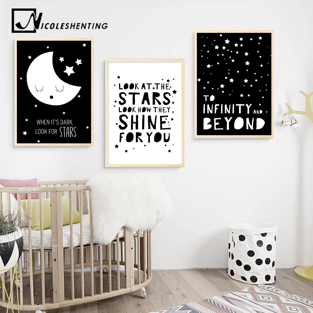 Aliexpress Buy Black White Nursery Quote Wall Art