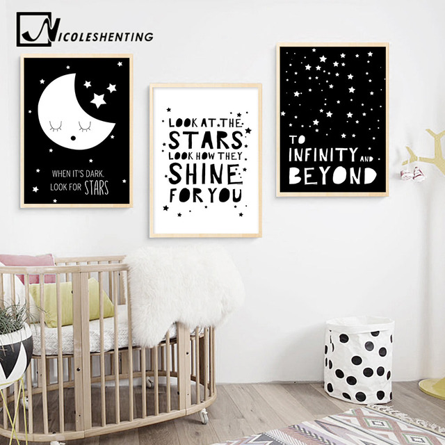 Black White Nursery Quote Wall Art Canvas Posters Nordic Style Prints Painting Cartoon Pictures Baby Kids