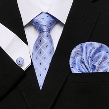 2018 Floral Plaid Mens Tie Set Blue White Jacquard Silk Tie Pocket Square Cufflinks 7.5cm Classic Ties for Men Corbatas charming plating white steel cufflinks for men protractor set square pair