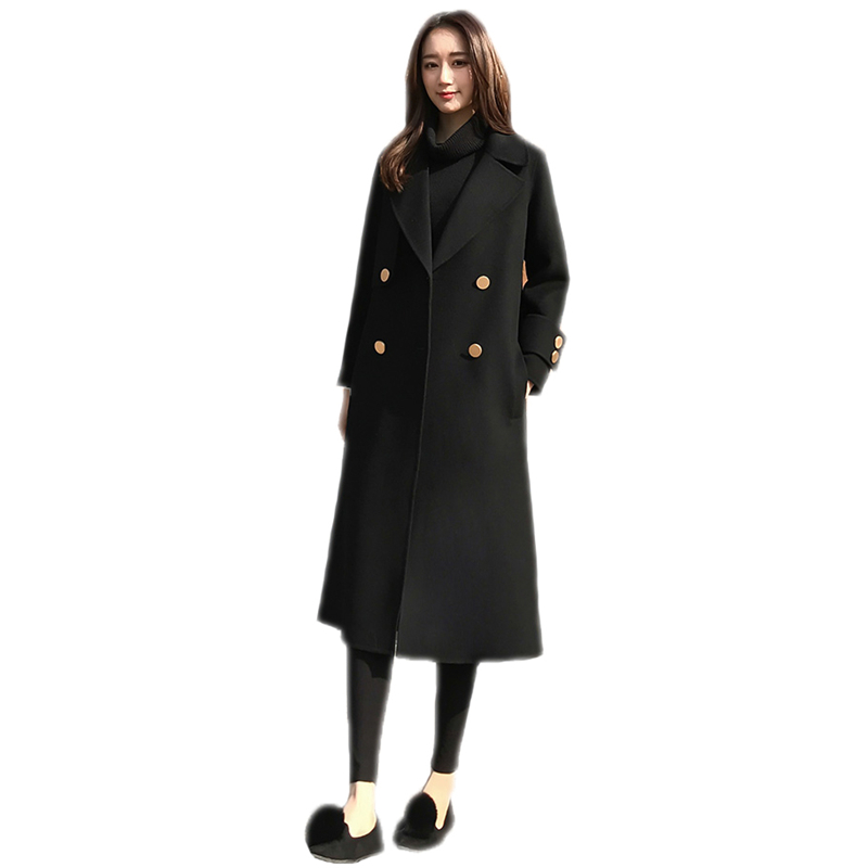 Women Fashion New Autumn Winter Middle Long Woolen Coat Female Slim Warm Thick Blends Jacket Lady Casual Solid Color Outwear C98