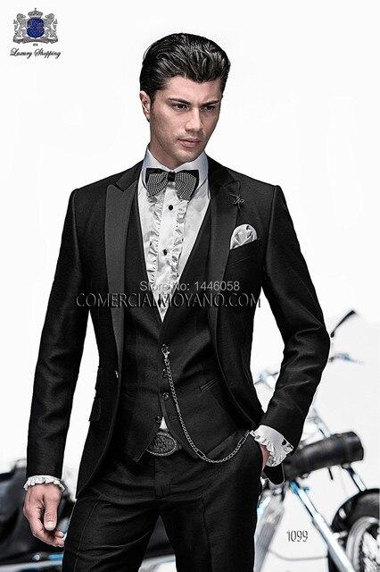 a7014512d32f6 Hombres italianos Tailcoat negro muesca solapa boda trajes para hombre  trajes padrinos de boda del novio