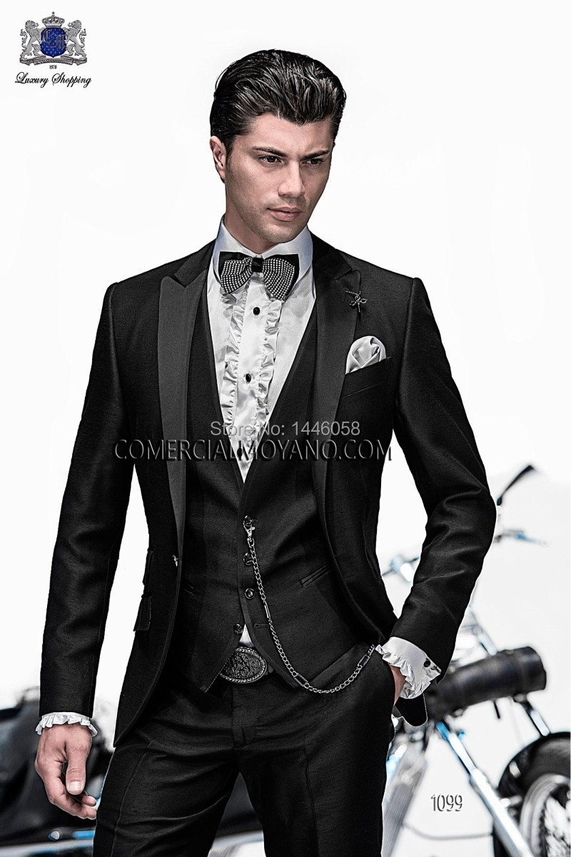 Italian Men Tailcoat Black Notch Lapel Wedding Suits For Men Groomsmen Suits Groom Tuxedos For Men Bridegroom (Jacket+Pant+Vest)