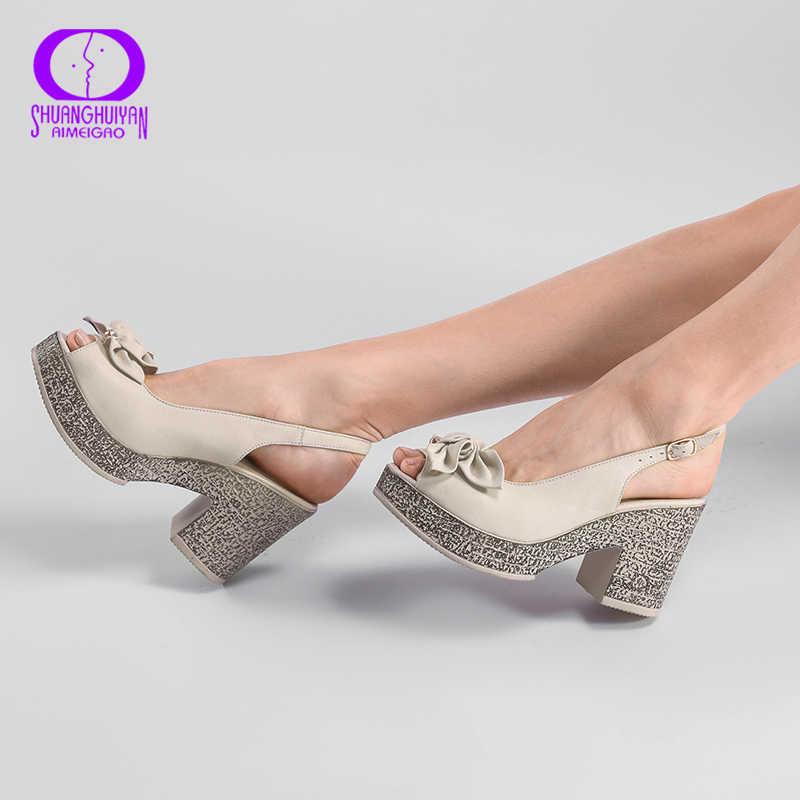 AIMEIGAO 2018 yeni yaz moda yüksek platform sandaletler kadın burnu açık sandalet tatlı çiçekler kalın topuklu bayan sandalet ayakkabı