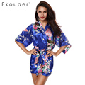 2017 Sexy Female Robes Printed Floral Kimono Dress Gown Chinese Style Faux Silk Satin Robe Nightgown Flower M L XL XXL 14 Colors