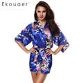 2017 Sexy Feminino Kimono Robes Impresso Floral Vestido Vestido Estilo Chinês Robe De Cetim De Seda do falso Camisola Flor M L XL XXL 14 cores