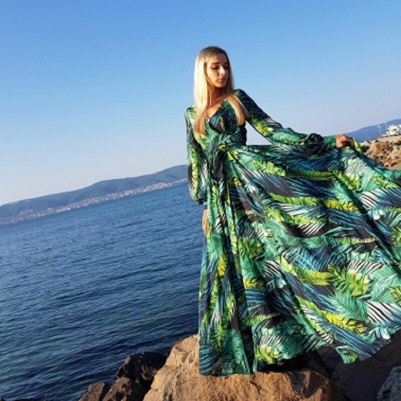 Женское длинное платье с цветочным принтом AECU Vestido, богемное пляжное платье макси в богемном стиле на лето|Платья|   | АлиЭкспресс - Платья