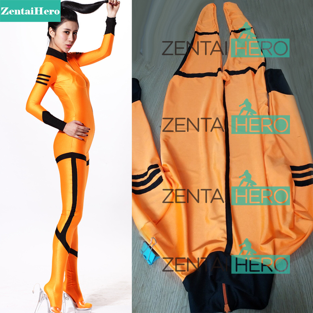 128f8768b1d6 Free Shipping DHL Hot Halloween Sexy Costumes Orange Lycra Zentai Spandex  Unisex Catsuits Super Hero Costume For Woman Plus Size