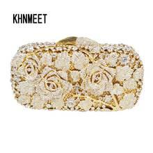 Luxus kristall clutch abendtasche Goldene rose blume partei geldbörse frauen hochzeit braut handtasche beutel soiree pochette tasche SC013