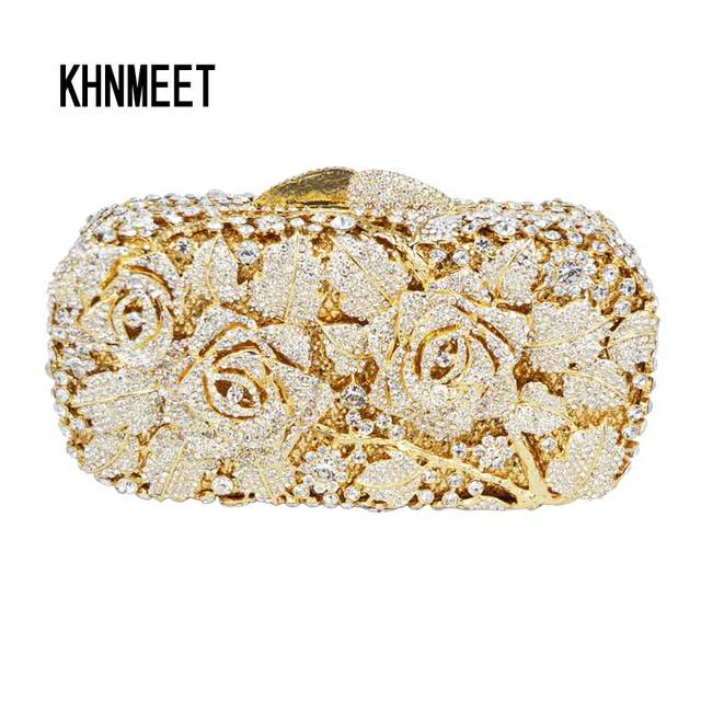 Luxury Crystal Clutch Evening Bag Golden Rose Flower Party Purse Women Wedding Bridal Handbag Pouch Soiree